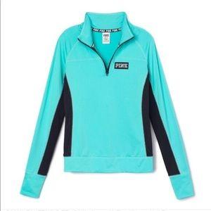 PINK VS | Aqua spandex half zip pullover